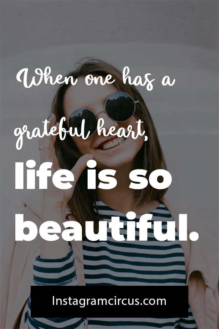 Happy captions about grateful heart